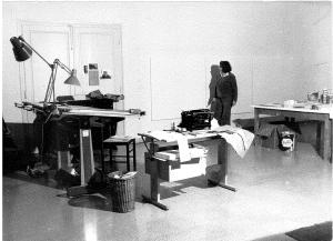 Aen Sauerborn im Atelier in Rom Villa Massimo 1975
